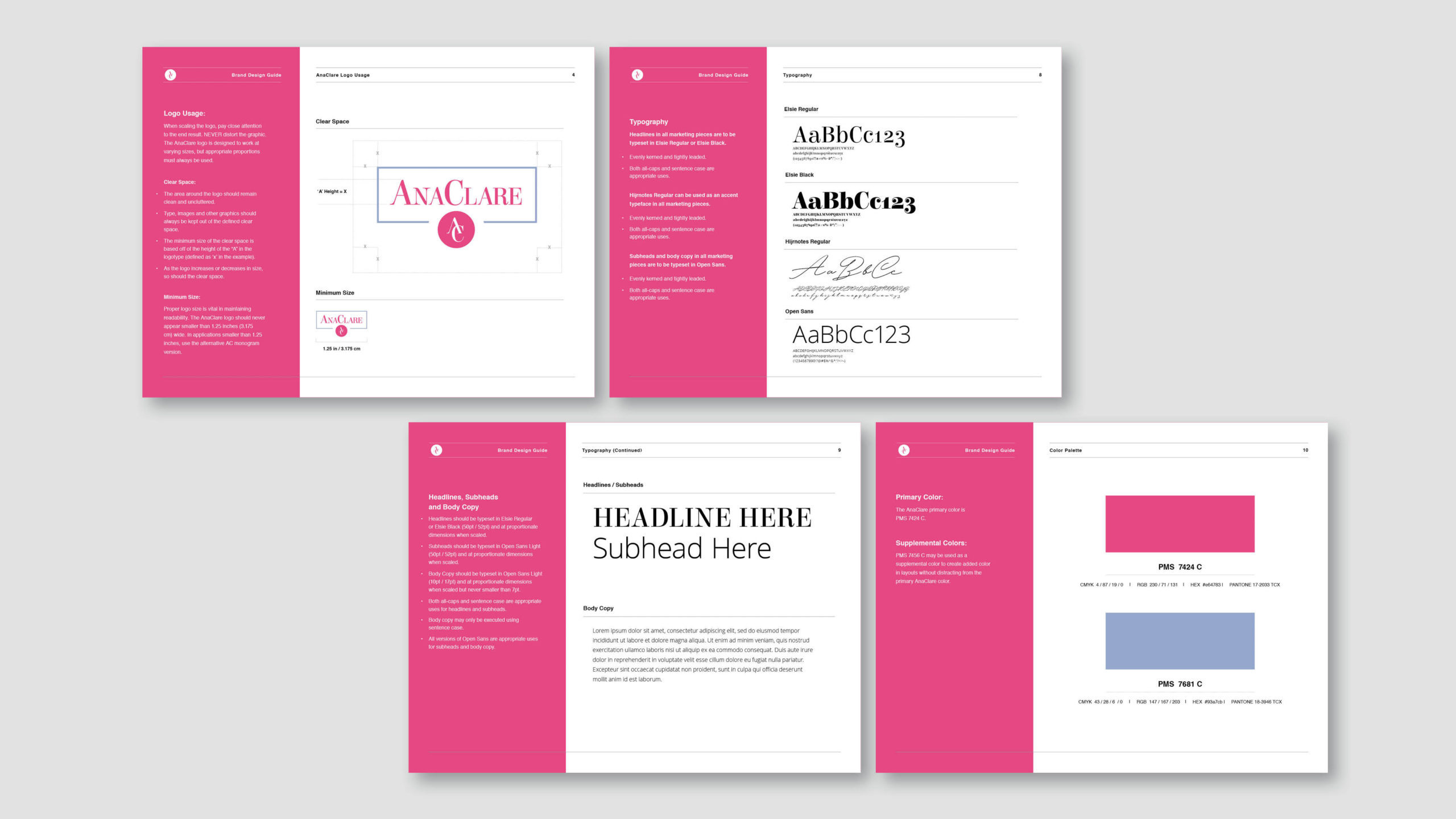 brand guidelines - AnaClare and AnaClare Active - Dead on Design