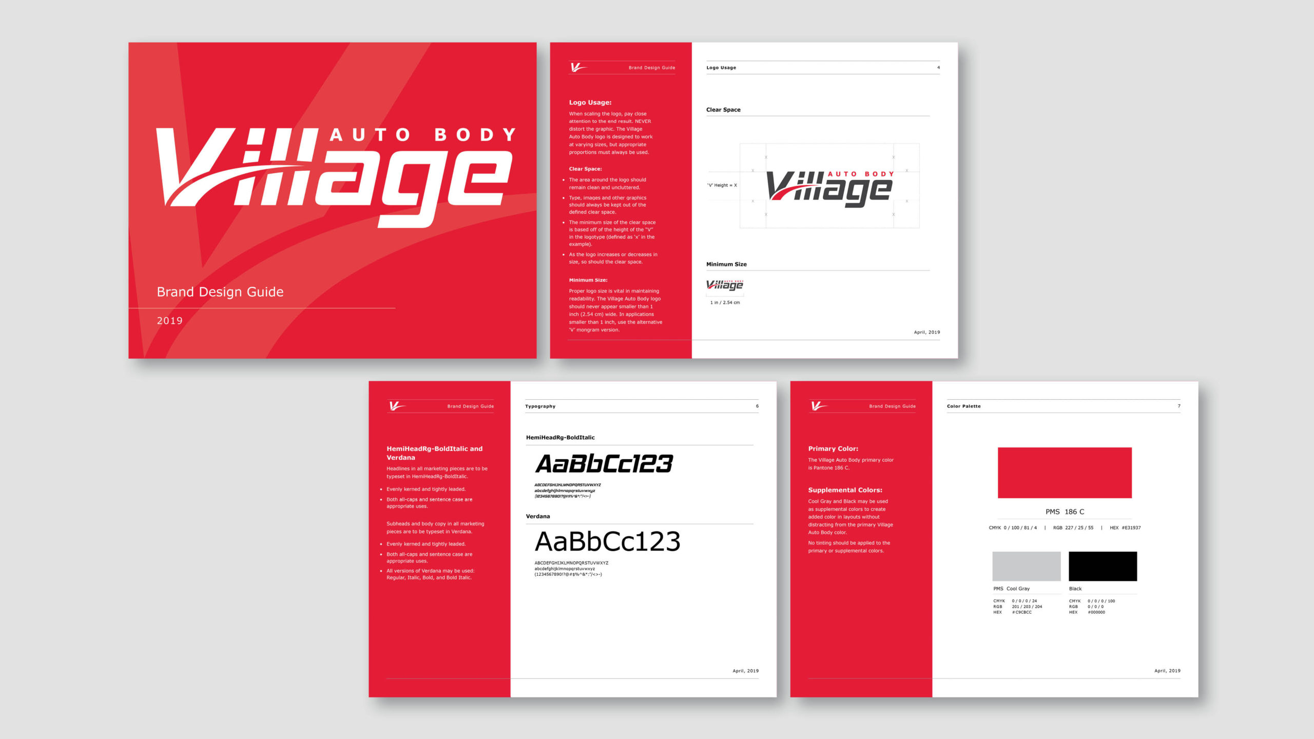 Brand Identity and Brand Design Buide including Typeface Design - Village Auto Body